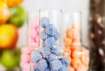 Lovely and tasty sweets in a glass bowl