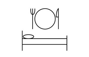 Icon showing a bed