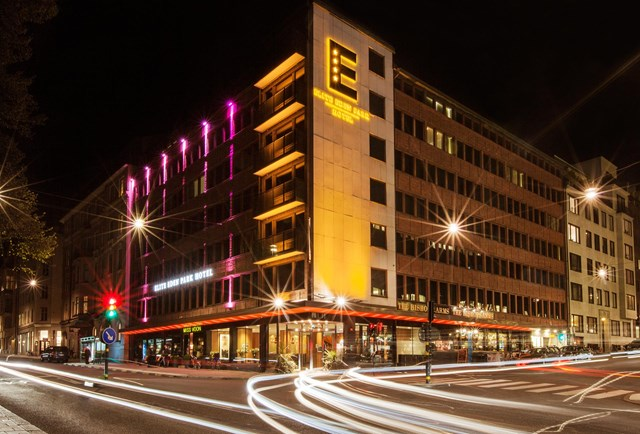 Night view of the exterior at Elite Eden Park Hotel in Stockholm