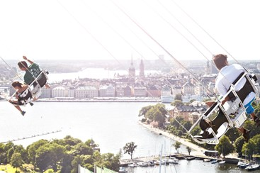 View over Stockholm från the swing ride at the amusement park Gröna Lund in Stockholm